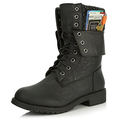 Women's Military Lace Up Buckle Combat Boots Ankle Mid Calf Fold-Down Exclusive Credit Card Pocket Black Red Black PU 10 2A(N) US