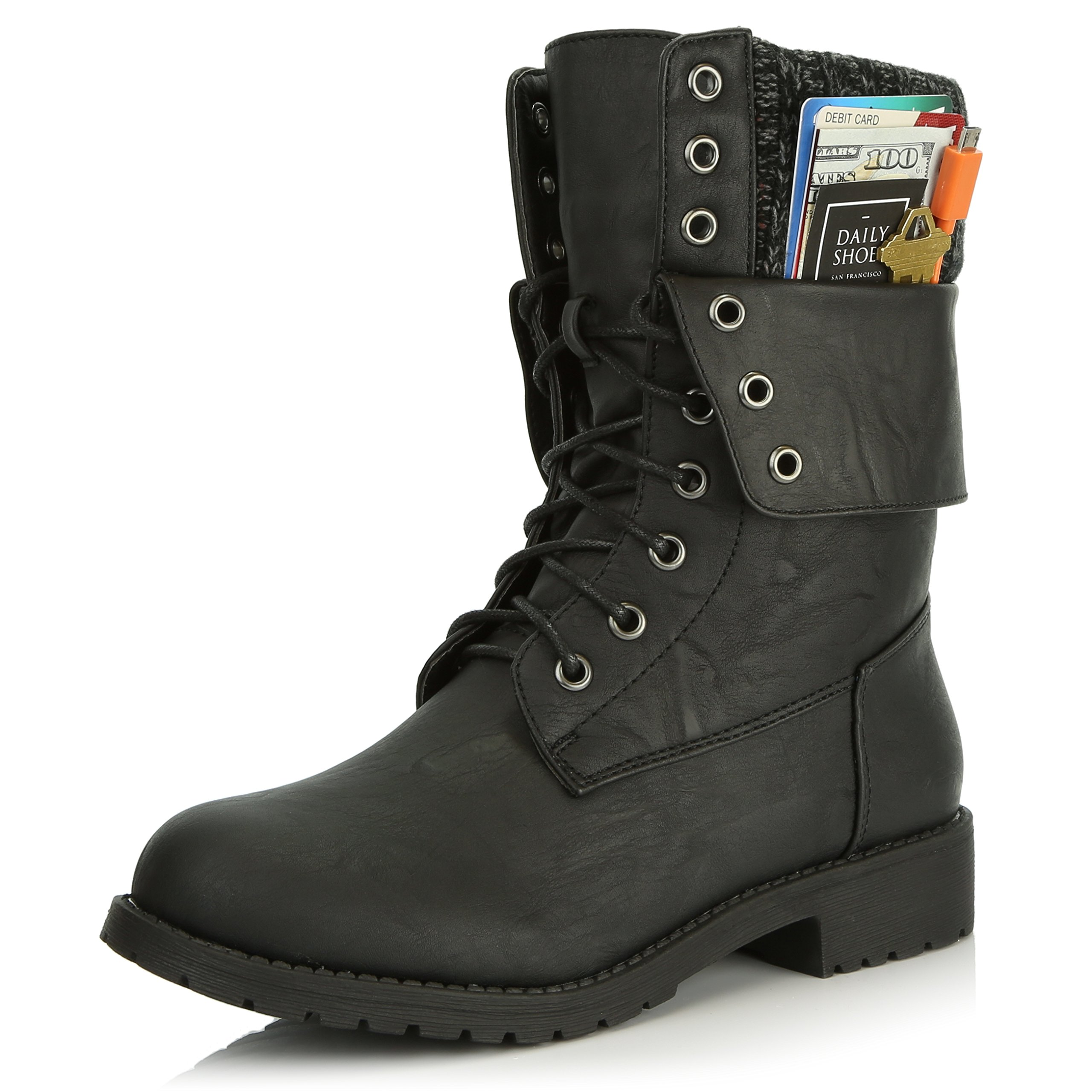 DailyShoes Womens Military Lace up Buckle Combat Boots Ankle Mid Calf Fold-Down Exclusive Credit Card Pocket, Black Pu, 7