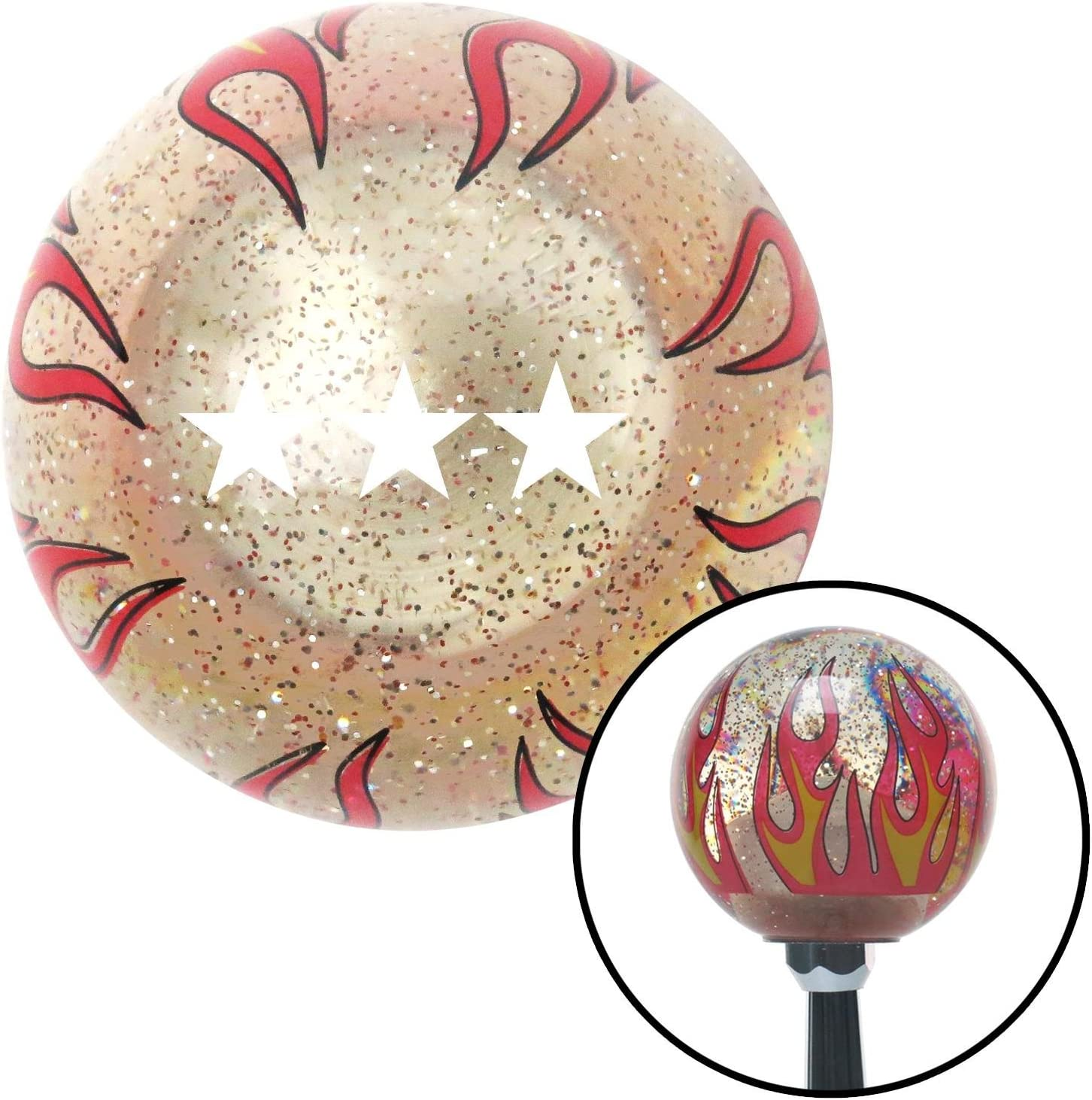 White Officer 09 - Lt. General American Shifter 229667 Clear Flame Metal Flake Shift Knob with M16 x 1.5 Insert