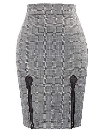 GRACE KARIN Mujer Falda de Tubo a Cuadros Gris Elegante para ...