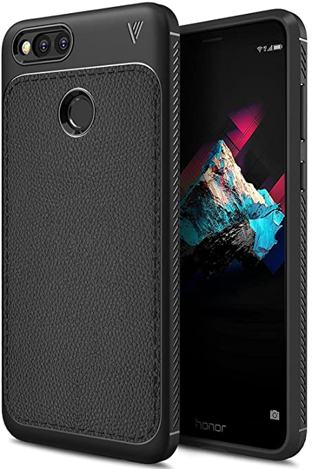 brand new 9f7a2 fd4b6 Bounceback ® (V Series) Huawei Honor 7X Back Case Shock Proof Anti Slip  Leather Pattern Armor Soft TPU Back Cover for Huawei Honor 7X (Matte Black)