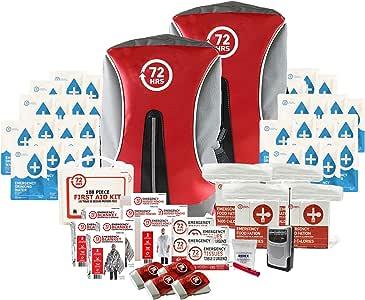 72HRS Kit básico de preparación para terremotos, Kit básico de Emergencia, Kit de Supervivencia para 4 Personas, Mochila básica de Emergencia.: Amazon.es: Deportes y aire libre