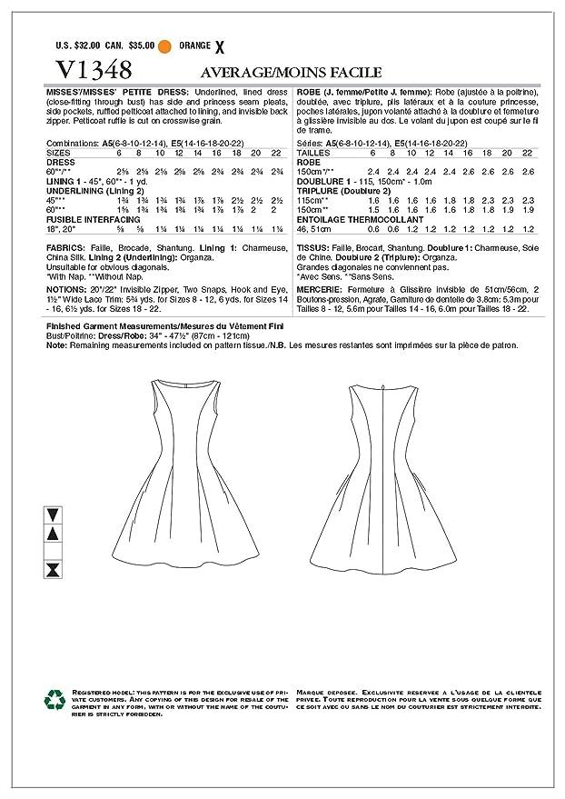 Amazon.com: Vogue Patterns V1348 Misses\'/Misses\' Petite Dress Sewing ...