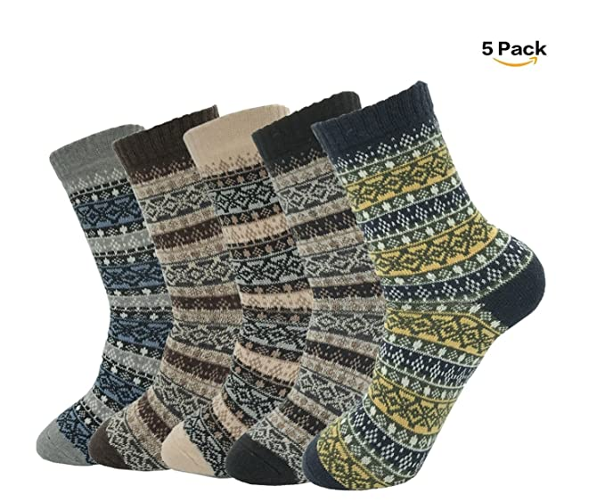 d48fa1bc59e82 Women's Vintage Style Wool Cashmere Thick Warm Socks(5 Pairs) at ...
