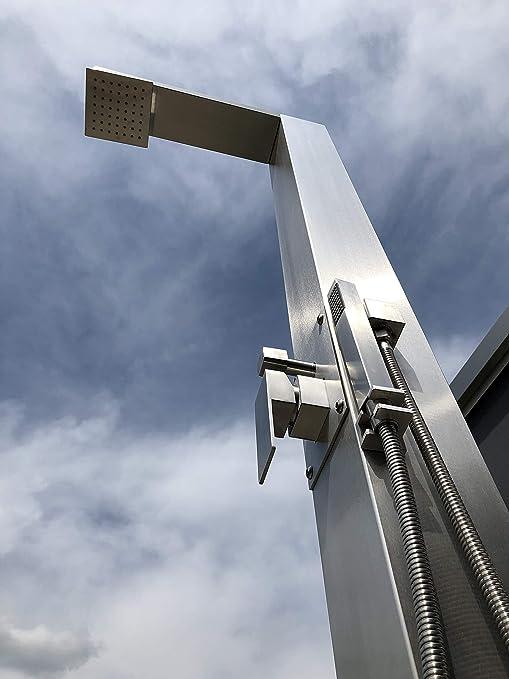 Ducha solar Model A3, acero inoxidable cepillado, 28 litros, ducha de jardín, ducha de piscina, ducha exterior: Amazon.es: Jardín