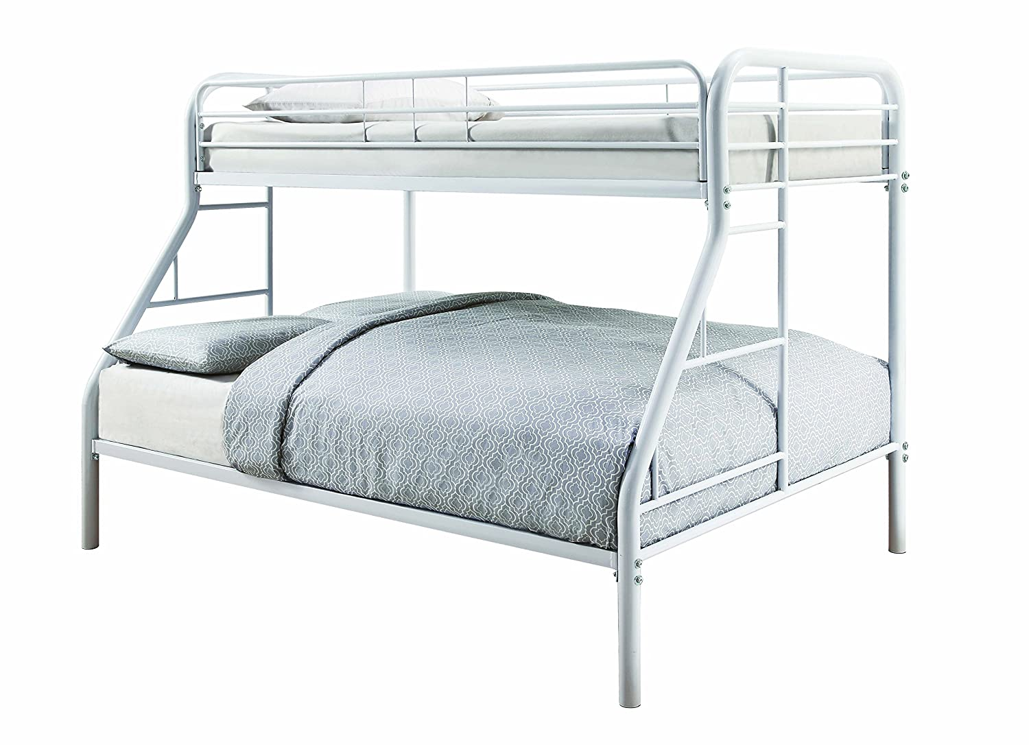 White Finish Coaster 460378W-CO Metal Twin and Full Bunk Bed