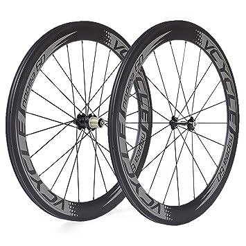 VCYCLE Nopea 700C de Fibra de Carbono Bicicleta de Carretera Bicicleta Ruedas Tubulares 60mm 23mm de Ancho Solo 1585g Shimano o Sram 8/9/10/11 Velocidad: ...