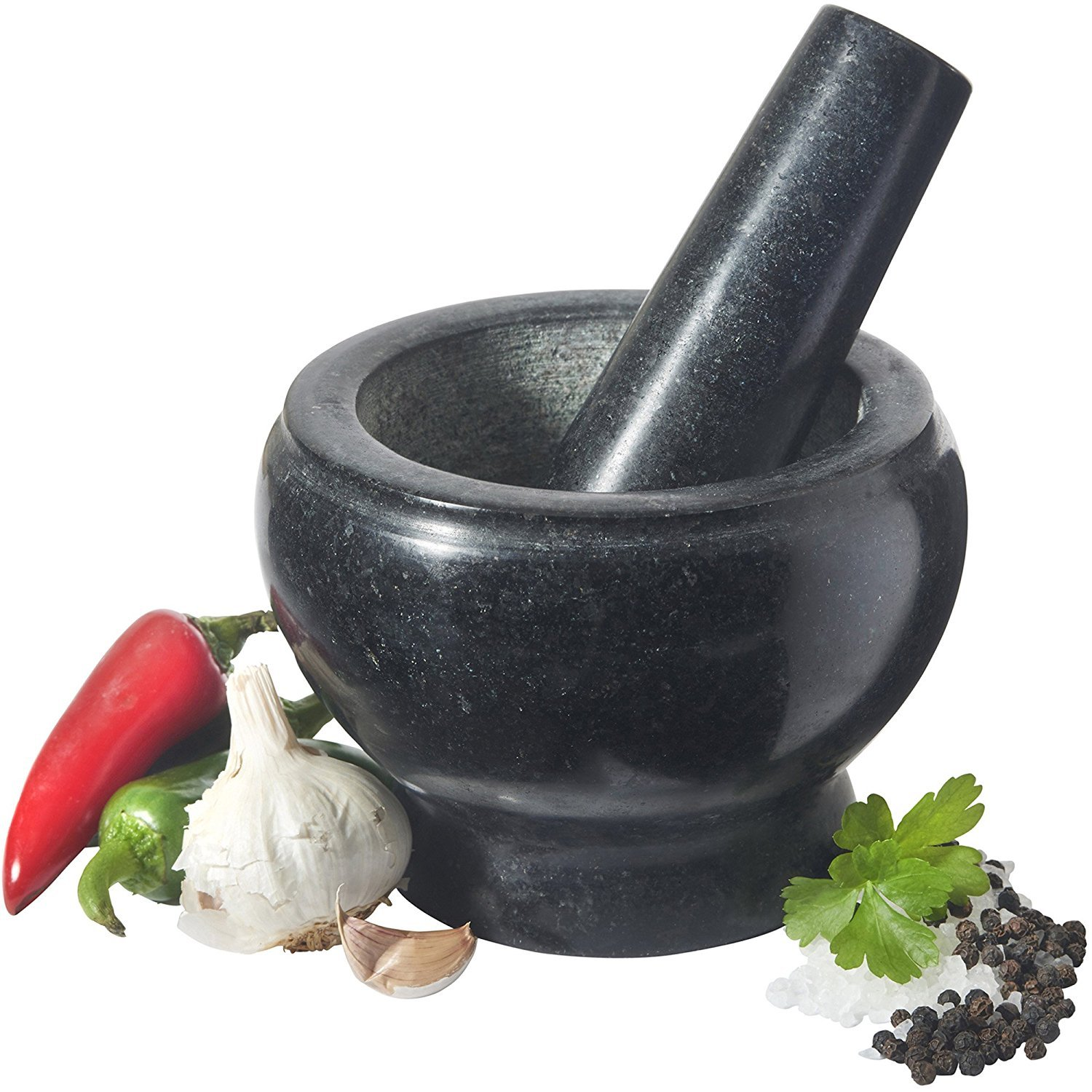 VonShef 07/062 Solid Granite Mortar and Pestle Spice Herb Grinder Set - 5.5 Inch Diameter - Perfect For Making Guacamole Salsa and Curries