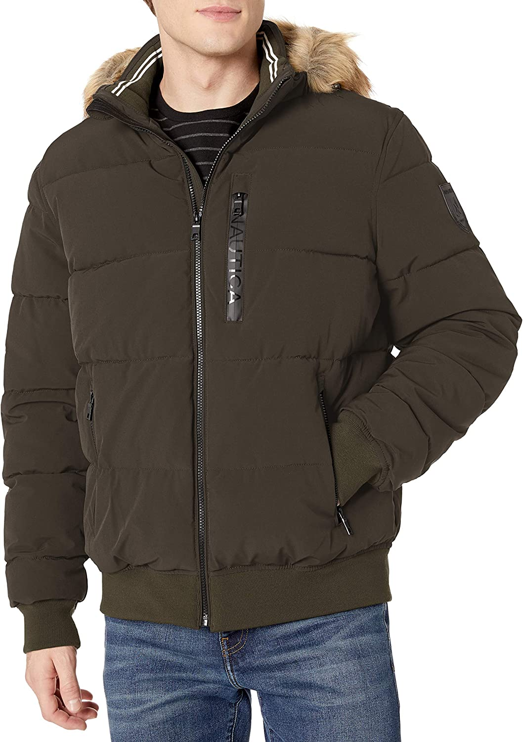 Nautica Mens Puffy Bomber with Fur Hood Jacket