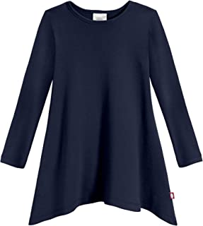product image for City Threads Sharkbite Girls Long Sleeve Tshirt Dress - Modern Stylish Tunic Top, 100% Natural Cotton Made in USA