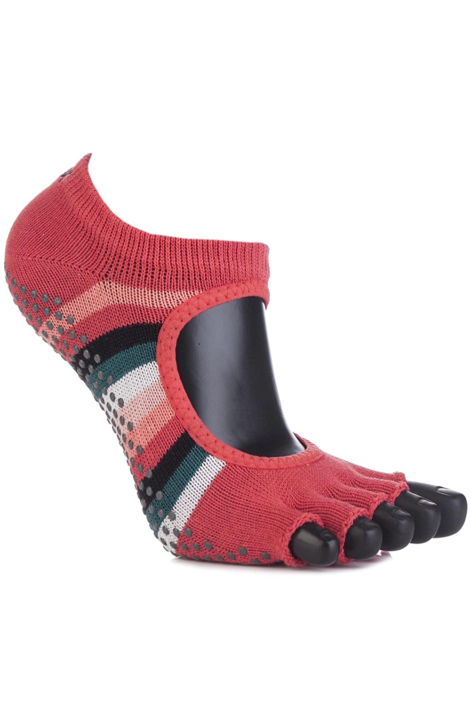ToeSox Women's 1 Pair Bella Half Toe Organic Cotton Open Front Yoga Socks In Fiesta