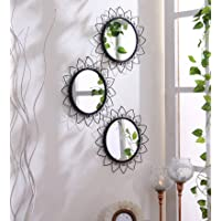 Hosley Decorative Round Iron Wall Mirror (30.48 cm x 30.48 cm x 1.27 cm, Black, Set of 3)