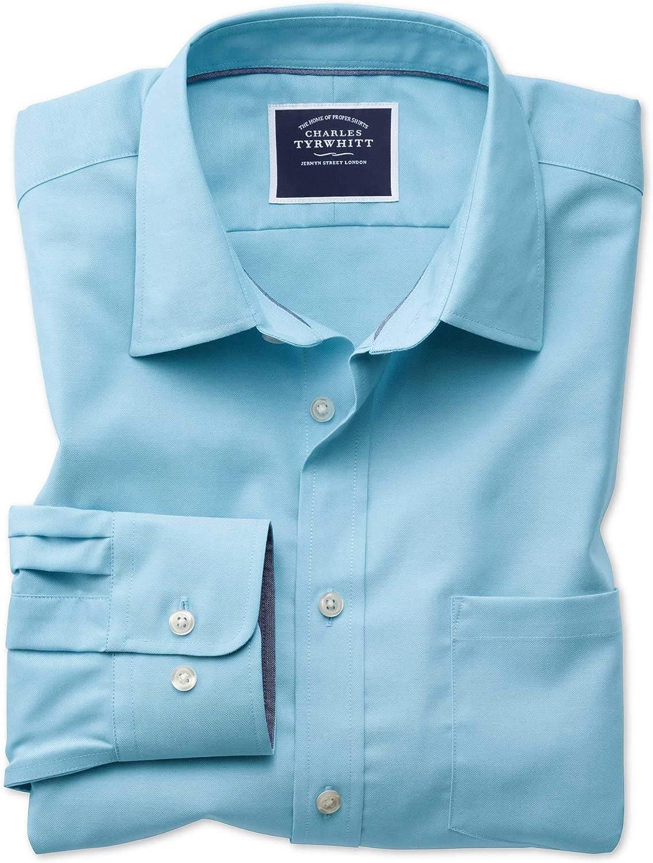 Camisa Oxford Azul Turquesa Lisa de Corte clásico sin Plancha: Amazon.es: Ropa y accesorios
