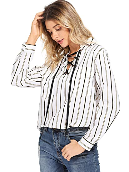 6d0d06e2a Romwe Women's Lace up V Neck Casual Striped Collar Long Sleeve Blouse at  Amazon Women's Clothing store: