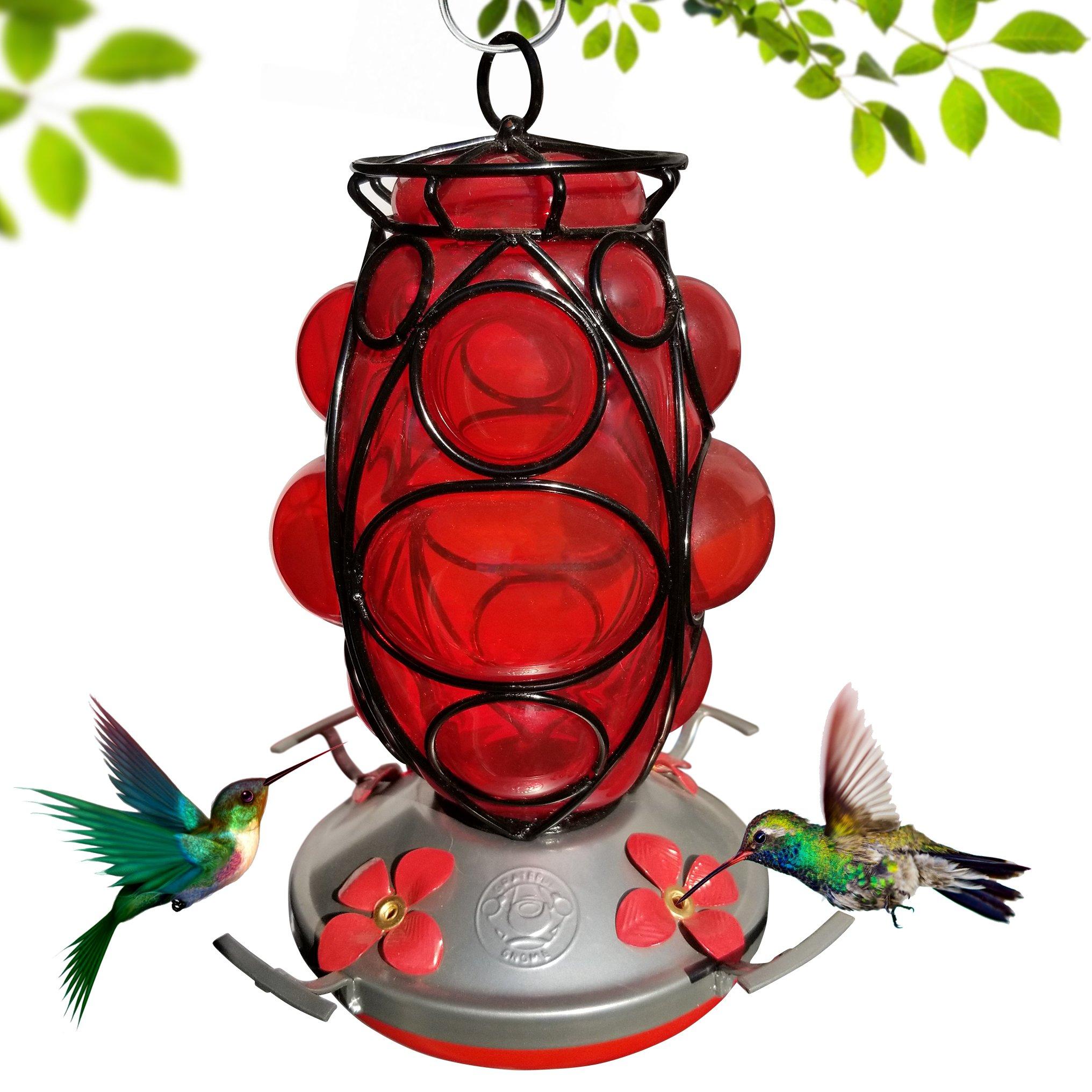 Grateful Gnome Hummingbird Feeder - Hand Blown Glass - Morroccan Lantern
