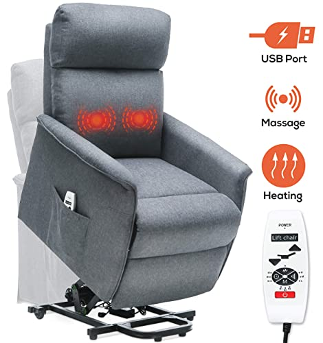ERGOREAL Electric Lift Chair for Elderly Infinite Position Power Lift Recliner with Heat and Massage Fabric Lift Recliners with USB Port and Side Pocket Grey