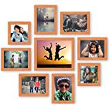 AJANTA ROYAL Individual Synthetic Polymer Wood Photo Frames(6-5x7-inch, 2-5x5-inch, 1-8x10-inch), Pine Wood Colour - Set of 9