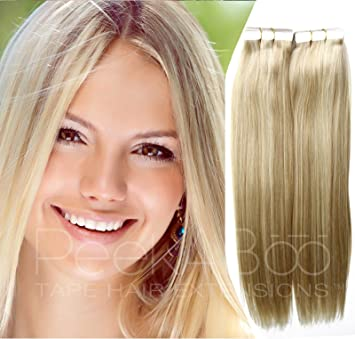 Amazon Com Professional Ash Blonde Tape In Hair Extensions 20