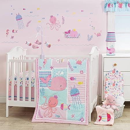 3 piece baby girls blue pink purple aquatic reef crib bedding set