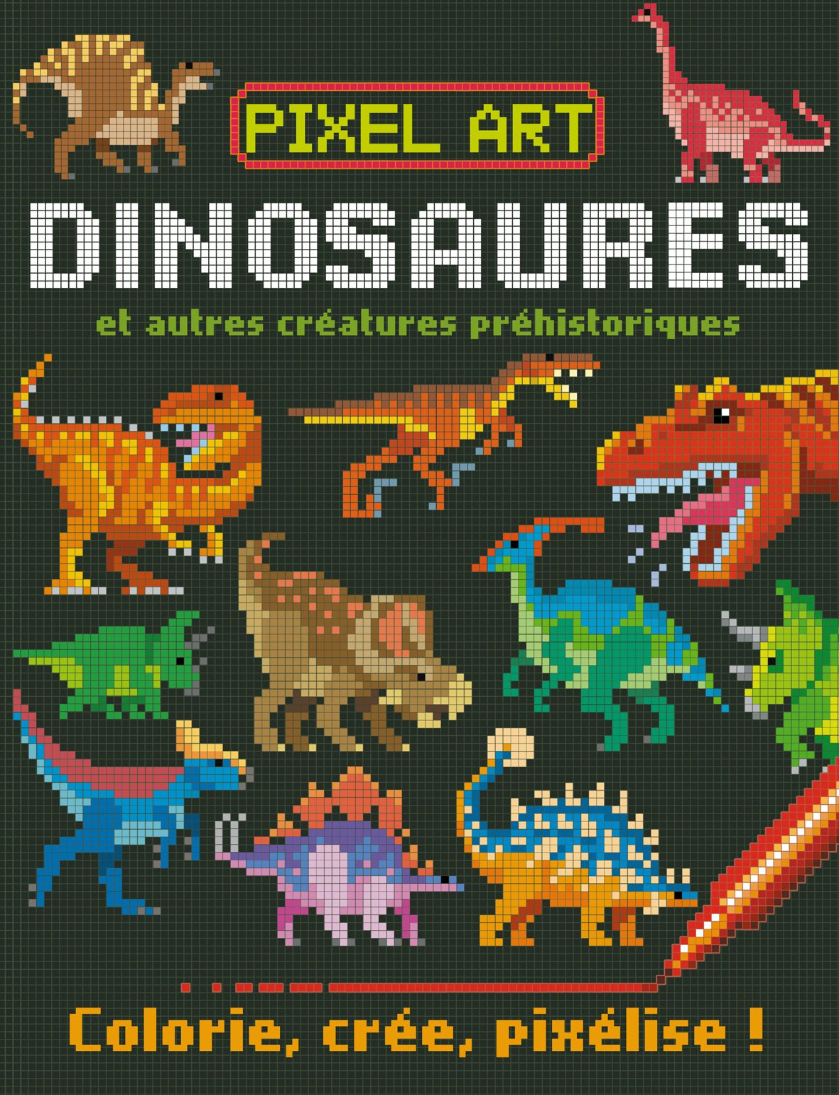 Pixel Art Dinosaures Colorie Crée Pixélise Amazon Fr