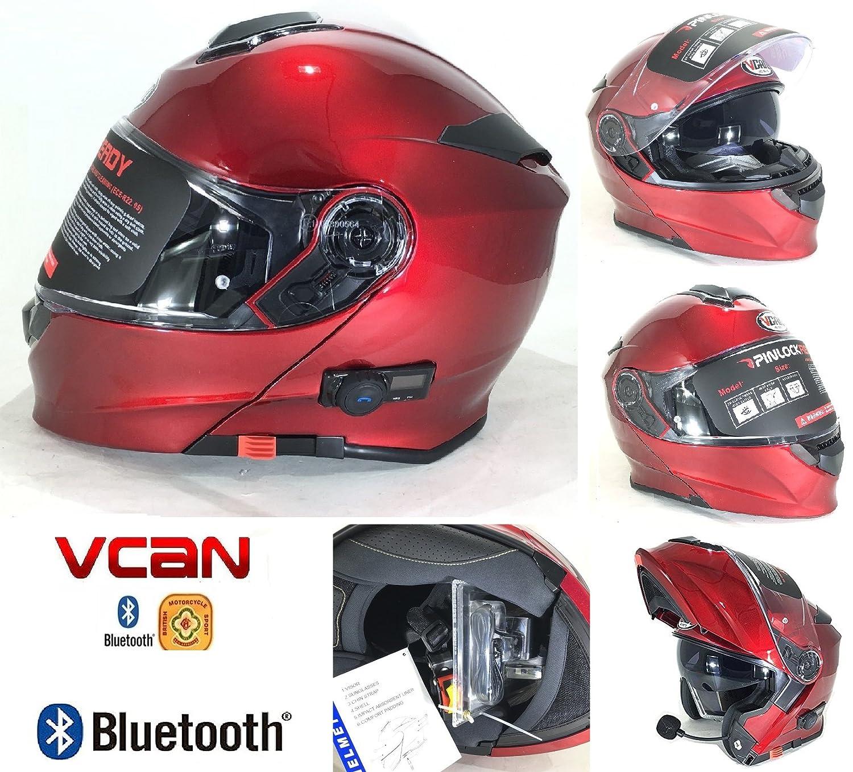 Vcan V271/BLINC Bluetooth con tapa frontal casco nuevo moto MP3/GPS FM de comunicaci/ón de granate con Kit de limpieza y Cuidado para modular casco y pasamonta/ñas rojo rosso extra-large