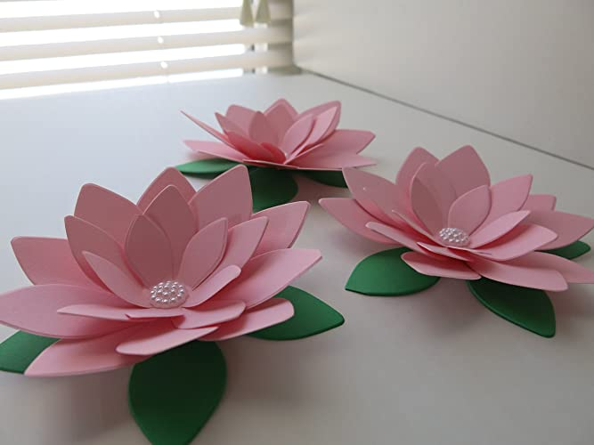 Amazon 3 pink water lilies big 4 paper lotus flowers baby 3 pink water lilies big 4quot paper lotus flowers baby shower table decor mightylinksfo