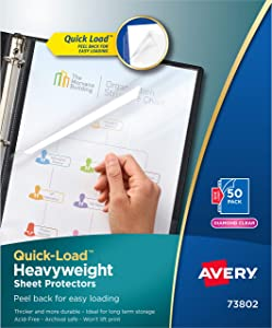 Avery 73802 Quick Top & Side Loading Sheet Protectors, Letter, Diamond Clear (Box of 50)