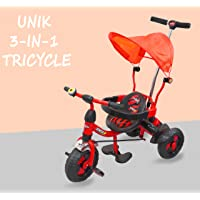 eHomeKart Tricycle for Kids - UNIK Deluxe Tri-Cycle with Sipper, Safety Guard, Bell, Parental Control Handle and Canopy - for Boys and Girls (1 Year - 4 Years) (Red)