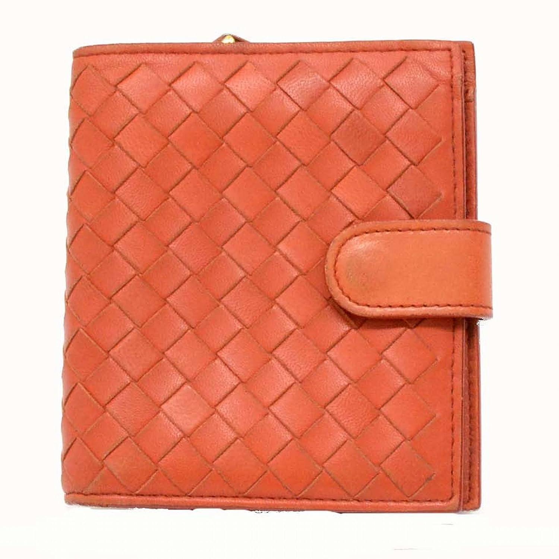 ボッテガヴェネタ BOTTEGA VENETA イントレチャート ラムスキン 二つ折 折財布 オレンジ 橙 121059 中古 B07875SSV1