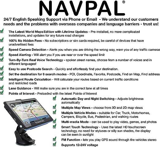 camion e camper include codici postali navigazione GPS per auto avvisi di autovelox e POI. + Aggiornamenti mappe a vita gratuiti SLIMLINE SAT NAV con Europa del Regno Unito 2019 preinstallato