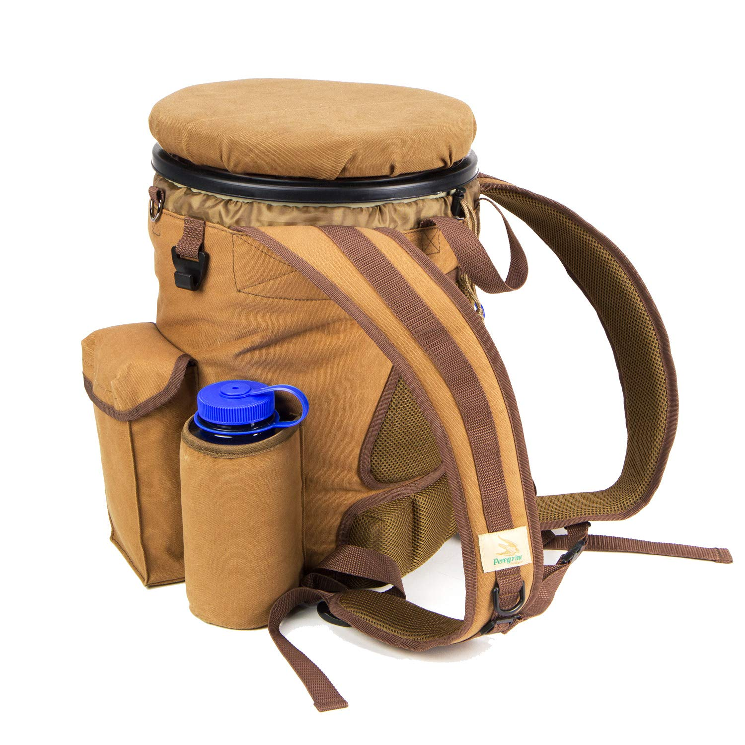 Peregrine Field Gear PFG-VBP3B-BRN Venture Hunting Bucket Backpack Combo, Brown Canvas