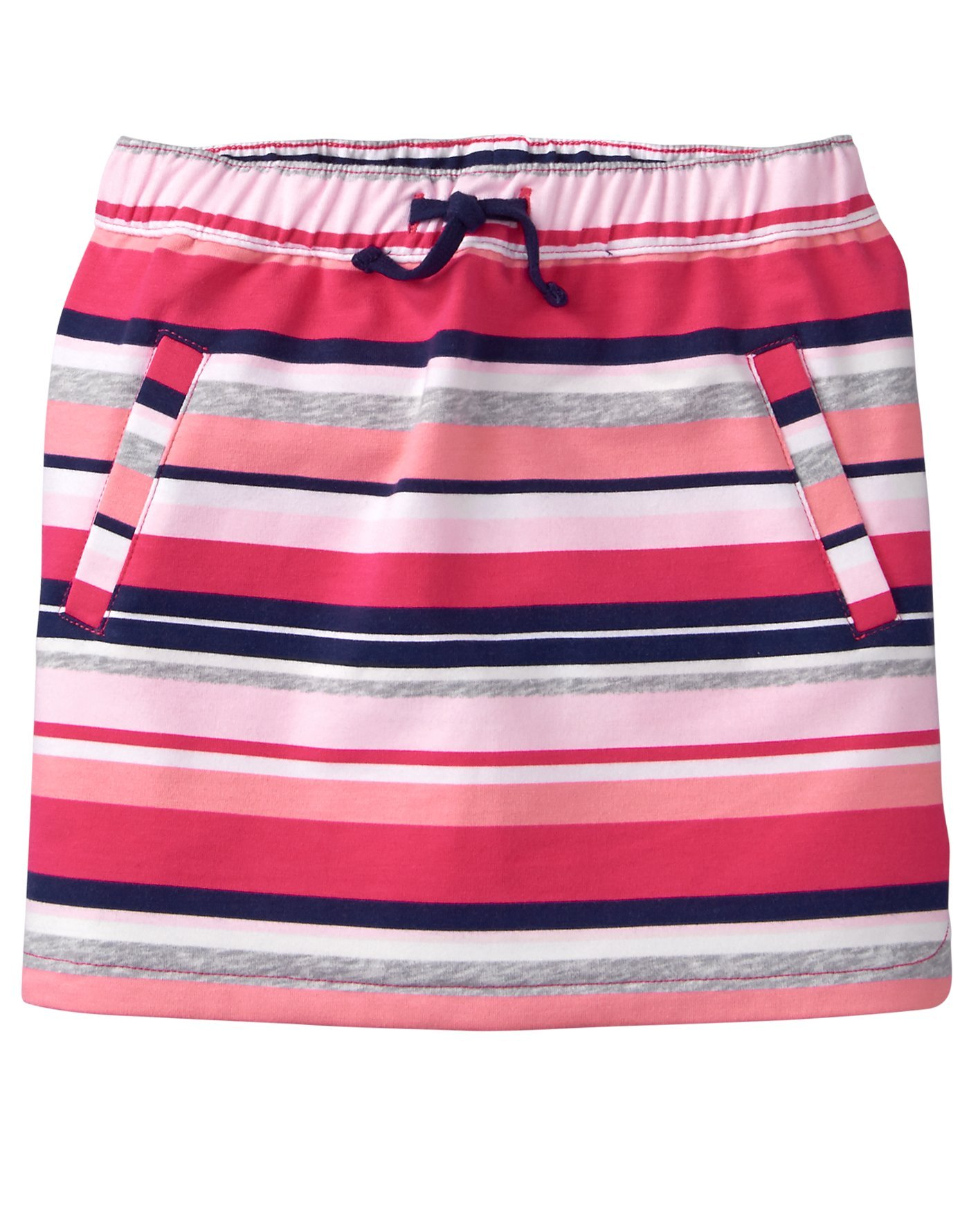 Gymboree Little Girls' Drawstring Front Pocket Knit Skirt, Pink/Grey Stripe, S