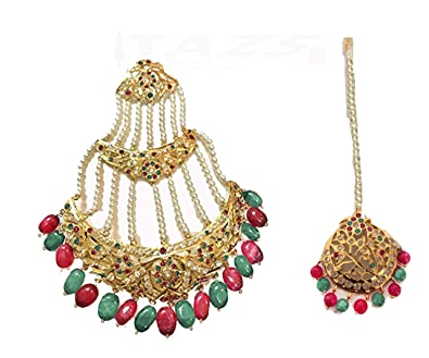 1f6967872a7e8 Buy TAZS Hyderabadi Multicolour Red Ruby and Green Emerald Pearl ...