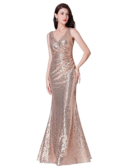 a251bb7295a Ever Pretty Women s V Neck Long Formal Sequin Wedding-Guest Party Dress  Rose Gold 8UK