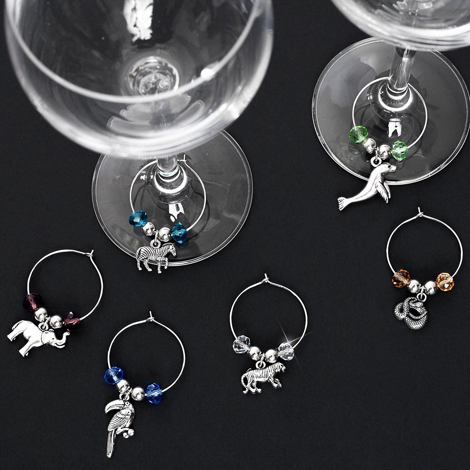 Set of 6 Stefania Sole Wine Glass Charms for Weddings Animals World COMINHKPR145595 Steel Rings with Beads and Stainless Steel Charms Handmade Accessories Dinners /& Parties Unique Design