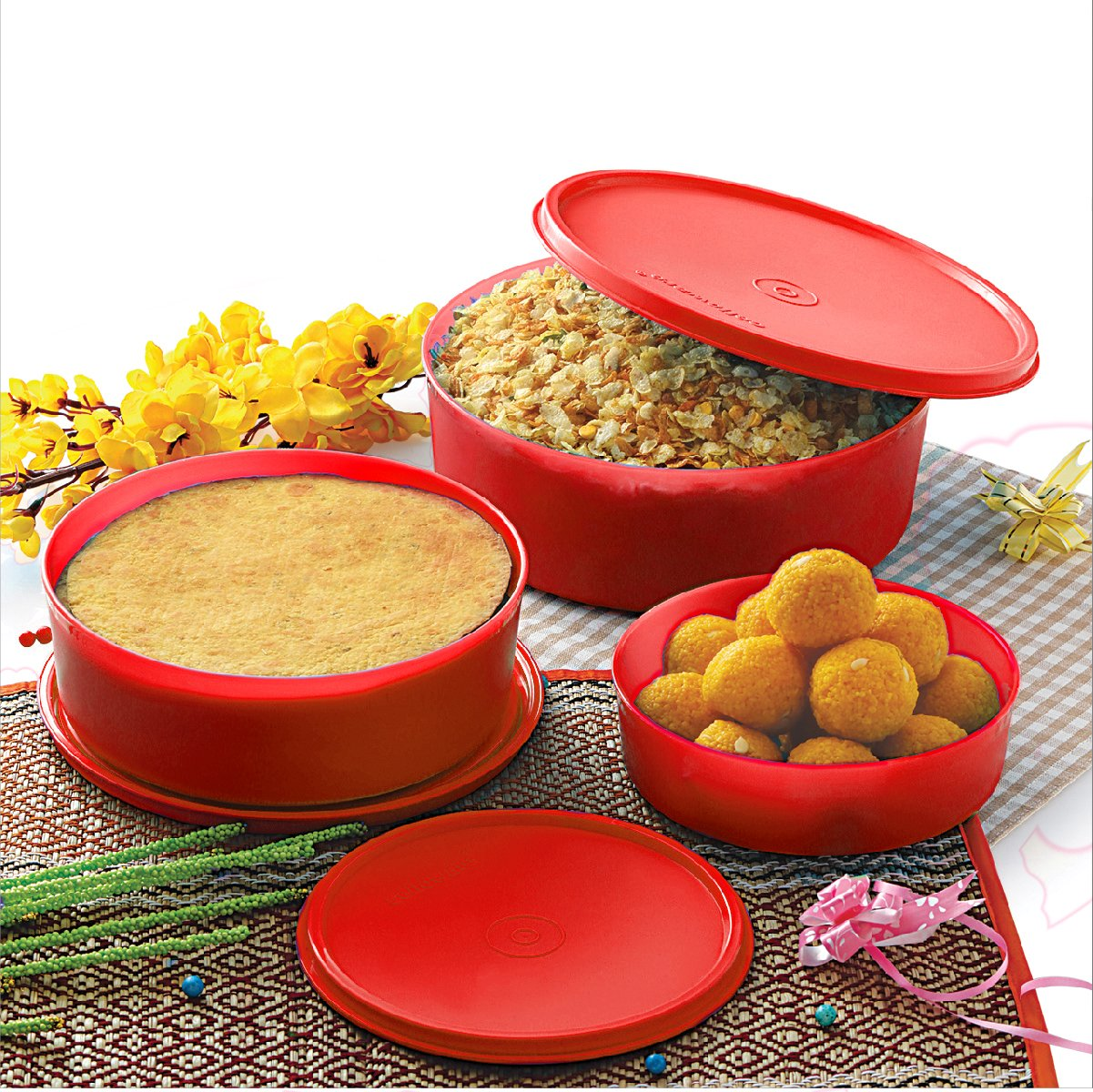 Cello Max Fresh Universal Polypropylene Container Set, 3-Pieces, Red