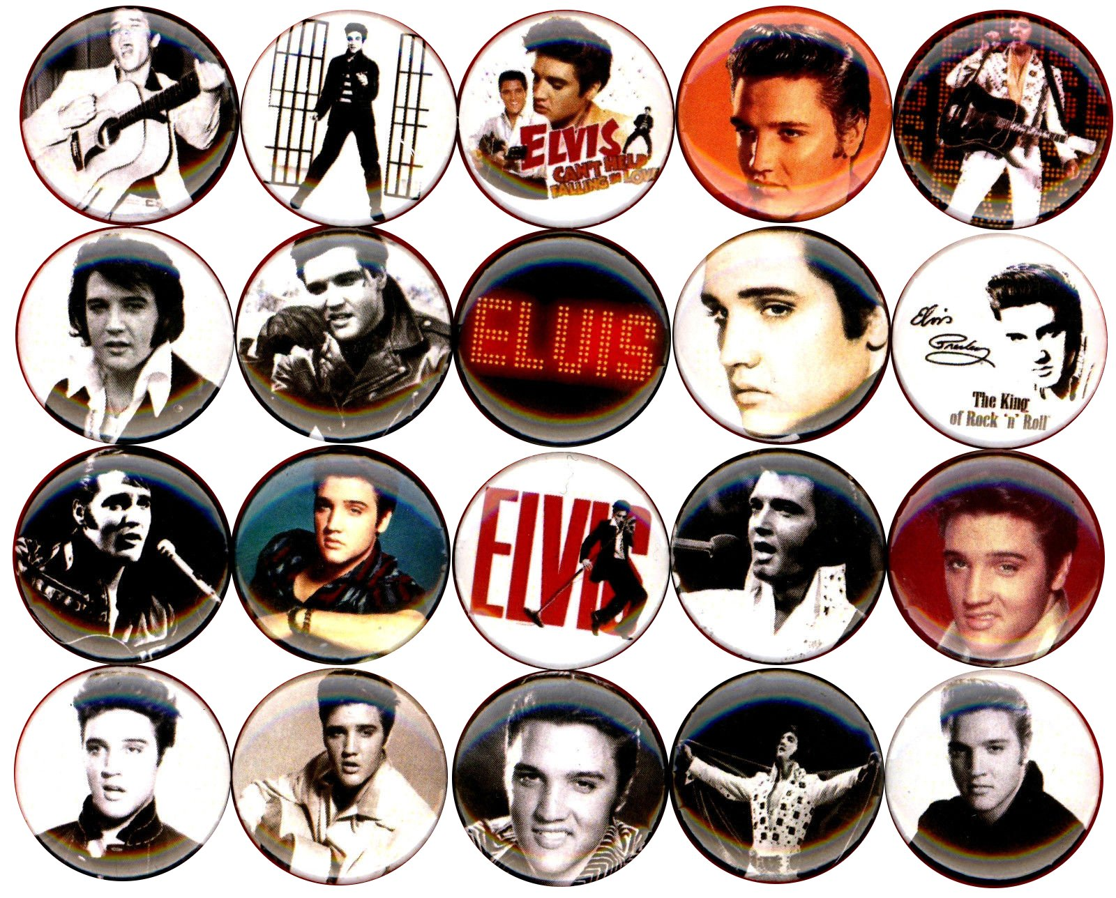 Elvis Presley x 20 1'' inch (25mm) NEW buttons pin badge logo king of rock and roll