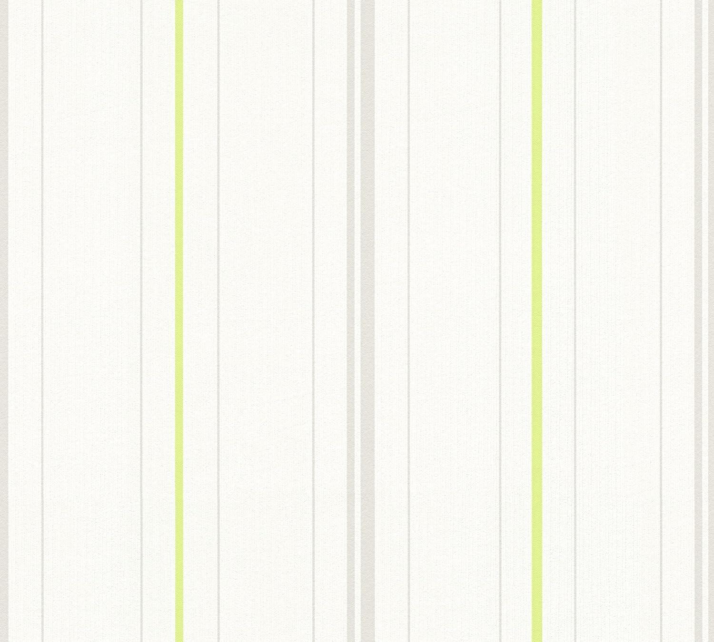 Cr/éation Vliestapete Happy Spring Tapete gestreift 10,05 m x 0,53 m grau gr/ün wei/ß Made in Germany 347641 34764-1 A.S
