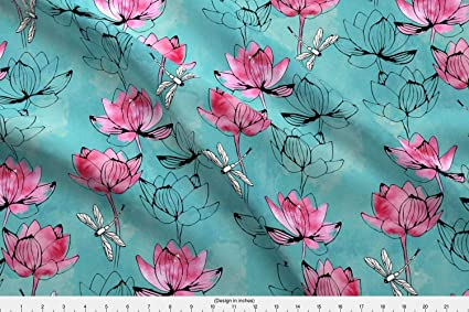 Amazoncom Watercolor Flower Fabric Watercolor Flower Dragonfly