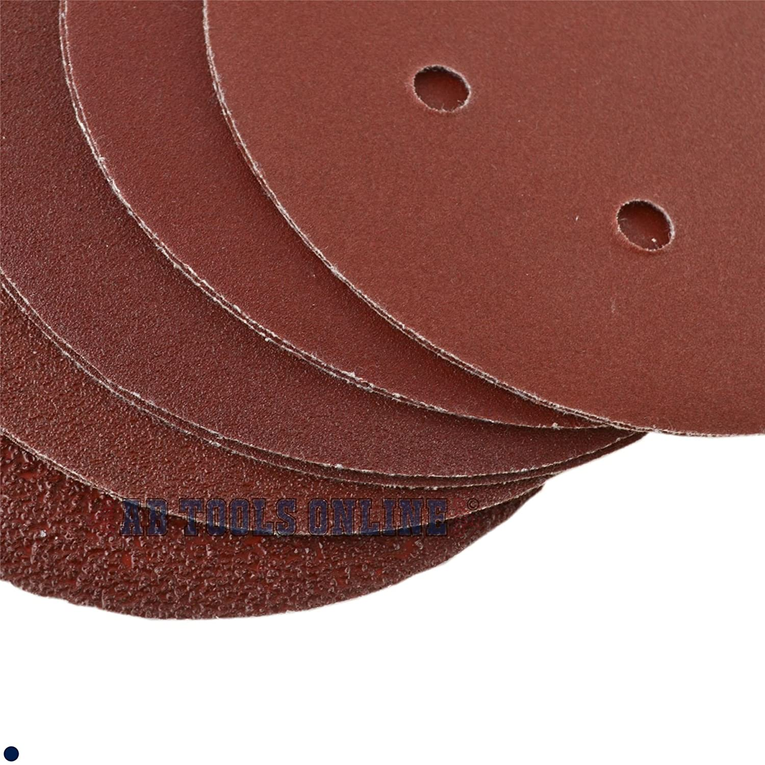 Hook/Loop Sanding Abrasive Discs Orbital DA Palm Sander 100PK 150mm Mixed Grit AB Tools