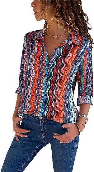 Aleumdr Mujer Camisa Retro Mangas Largas Blusa Vintage Camiseta a Rayas Size S: Amazon.es: Ropa y accesorios
