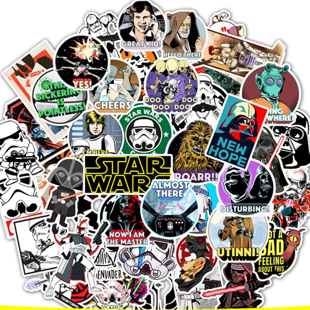 Star Wars Film Theme Fans Stickers for Laptop Water Bottle Luggage Snowboard Bicycle Skateboard Decal for Kids Teens Adult Waterproof Aesthetic Stickers