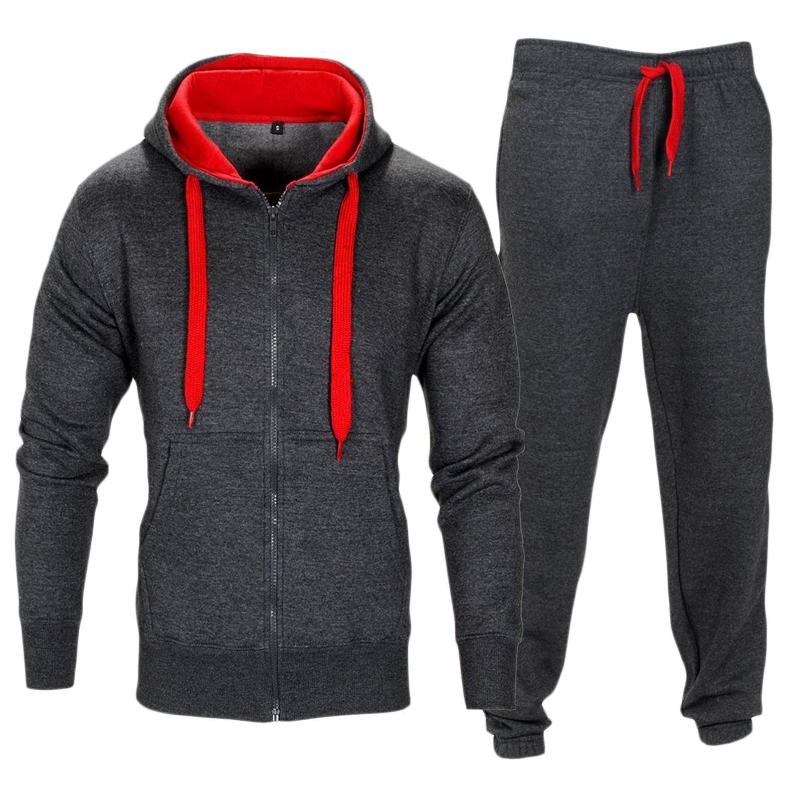 Men Tracksuit Set Contrast Cord Fleece Hoodie Bottom Jogger Gym Sport Suit Pants