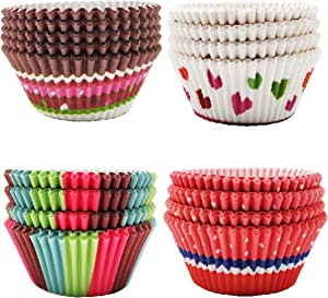 UNF Cupcake Liners Paper, Disposable Paper Baking Cups Rainbow Cupcake Wrappers Nonstick Muffin Cases Molds, 16 Styles Cupcake Liner Paper,Muffin Paper Cup, Value-Pack of 400 Count