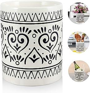 Kitchen Utensil Holder for Countertop, Large Ceramic Utensils Holder Farmhouse Utensil Crock for Kitchen & Dining Table, White Cooking Utensil Caddy Organizer, Graffiti Style