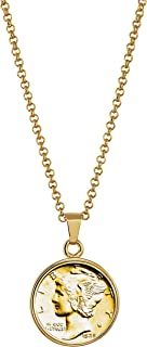 """product image for American Coin Treasures Gold-Layered Silver Mercury Dime Goldtone Coin Pendant with 18"""" Chain Necklace - Genuine and Elegant Keepsake Jewelry for Women 