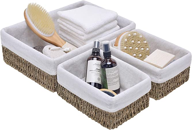 Bathroom basket Makeup Organizer Cotton Pads Crochet Storage Dark brown small basket Bedroom Storage Box Cotton Ball Holder