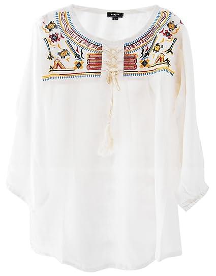 4d5020ff46f Triumphin White Women Short Tunic Kurti For Jeans Embroidered Cotton ...