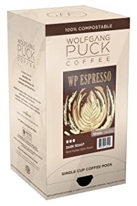 Wolfgang Puck Soft Coffee Pods, Espresso Coffee, 9.5 Gram, 6 x 18 Count
