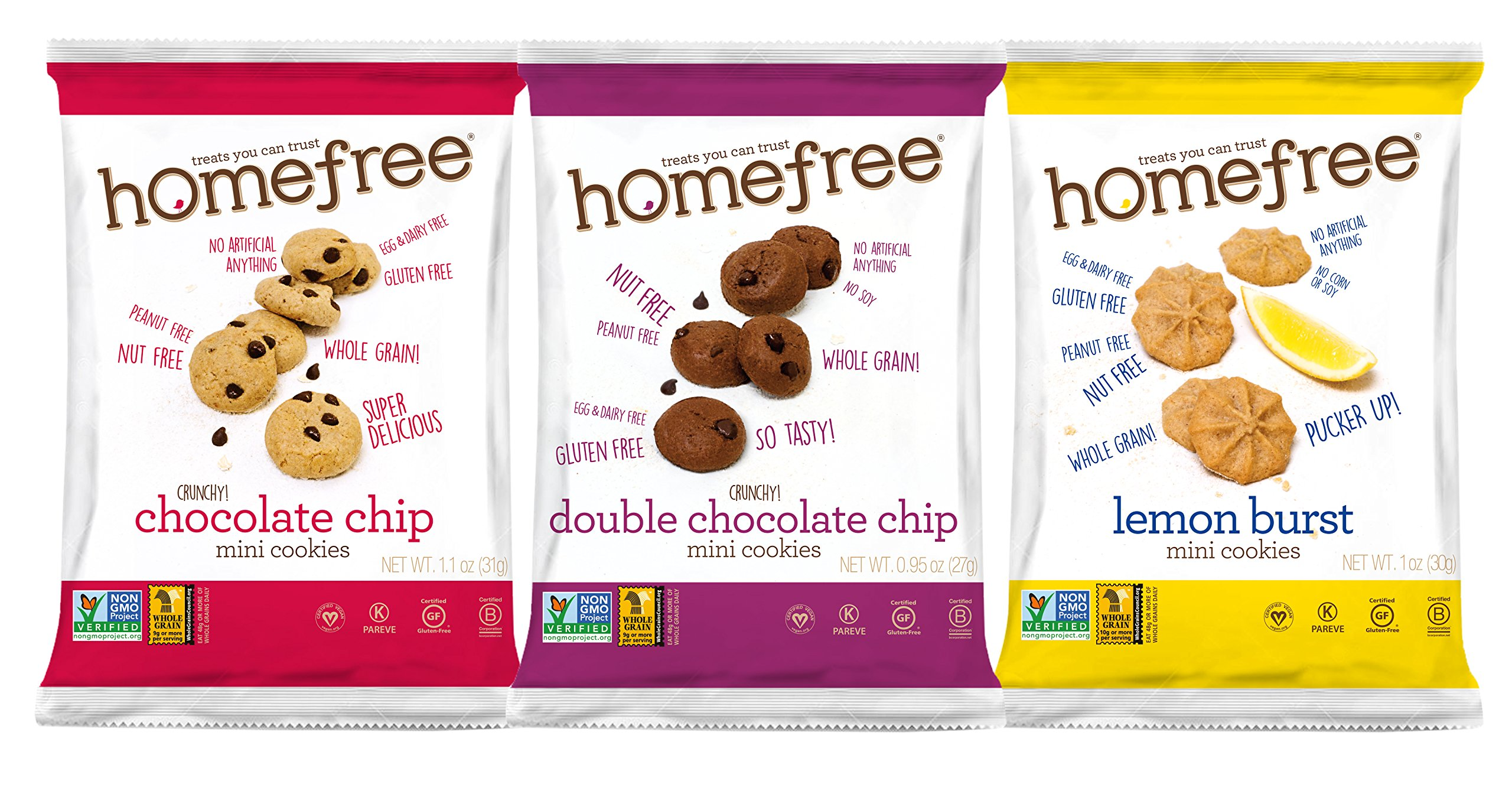Homefree Treats You Can Trust Gluten Free Mini's, Variety pack with Lemon, 30 Count by Homefree Treats You Can Trust